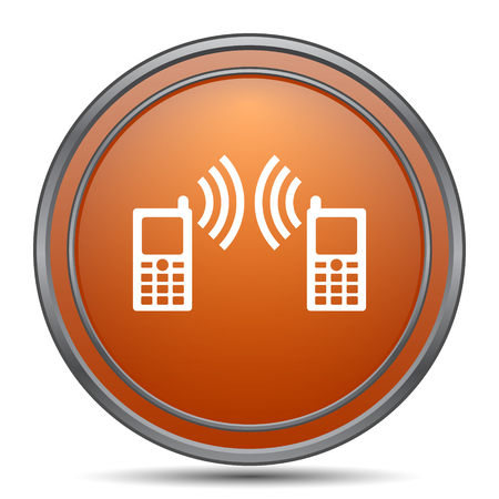 palmtop: Communication icon. Orange internet button on white background.