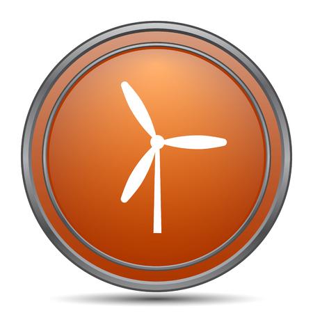 Windmill icon. Orange internet button on white background. Stock Photo