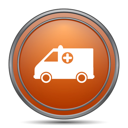 harm: Ambulance icon. Orange internet button on white background.