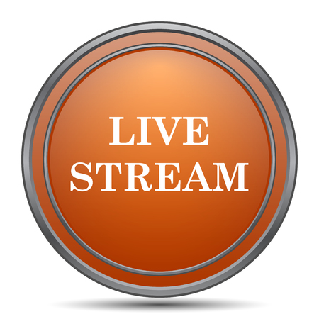 Live stream icon. Orange internet button on white background.