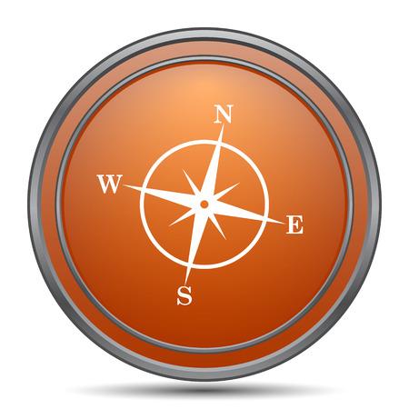 geodesy: Compass icon. Orange internet button on white background. Stock Photo