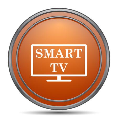 widescreen: Smart tv icon. Orange internet button on white background.