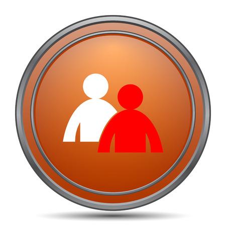 work related: Mentoring icon. Orange internet button on white background. Stock Photo