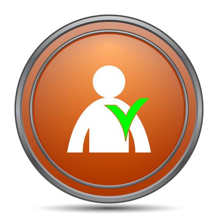 User online icon. Orange internet button on white background.