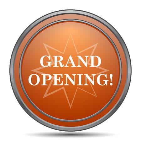 grand sale button: Grand opening icon. Orange internet button on white background. Stock Photo
