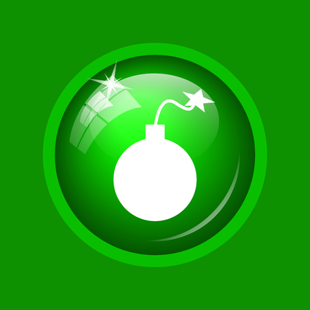 Bomb icon. Internet button on green background.