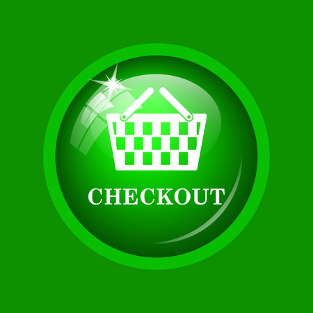 Checkout icon. Internet button on green background.