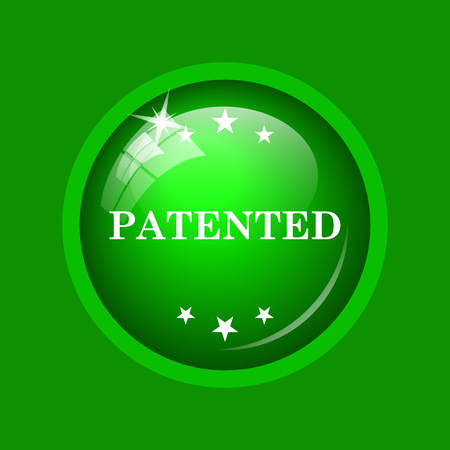 Patented icon. Internet button on green background. Stock Photo