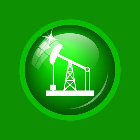 oil drum: Oil pump icon. Internet button on green background. Stock Photo