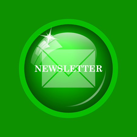 Newsletter icon. Internet button on green background.