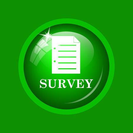Survey icon. Internet button on green background. Stock Photo