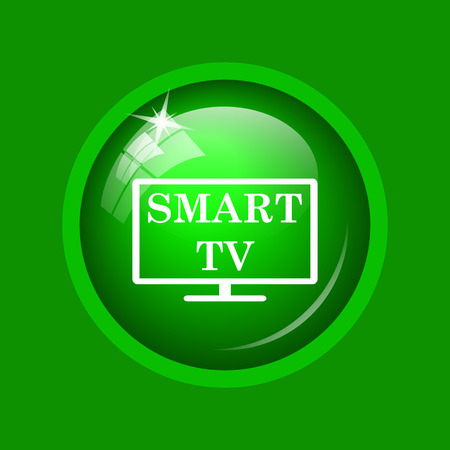 green button: Smart tv icon. Internet button on green background.