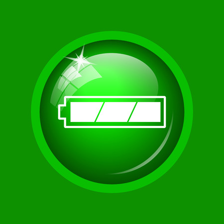 Fully charged battery icon. Internet button on green background.