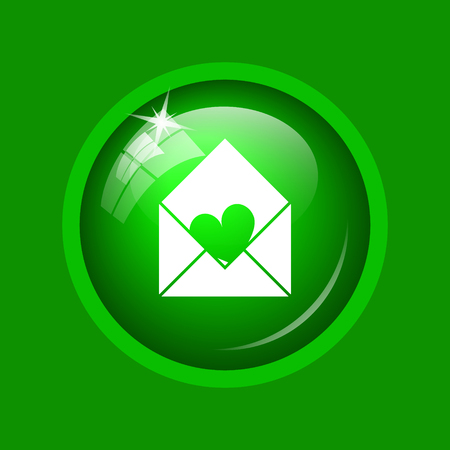 Send love icon. Internet button on green background.