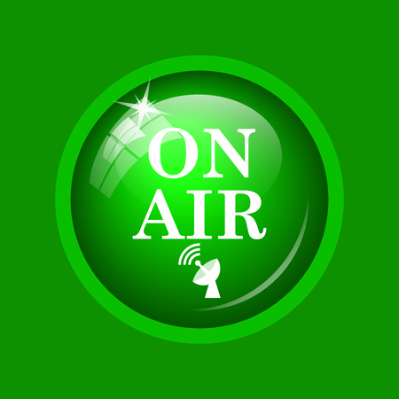 live stream tv: On air icon. Internet button on green background.