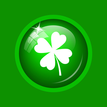 Clover icon. Internet button on green background. Stock Photo