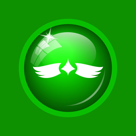 Wings icon. Internet button on green background. Stock Photo