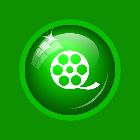 Video icon. Internet button on green background.