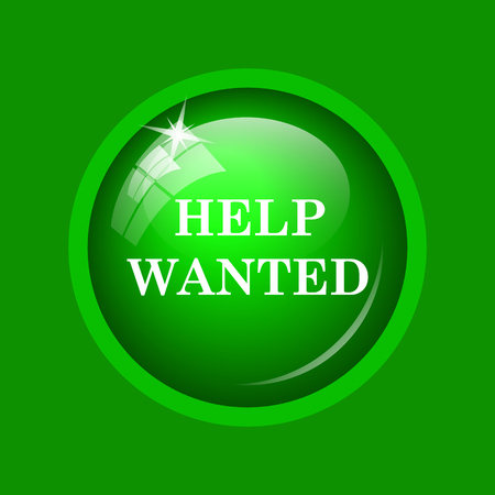 now hiring: Help wanted icon. Internet button on green background.