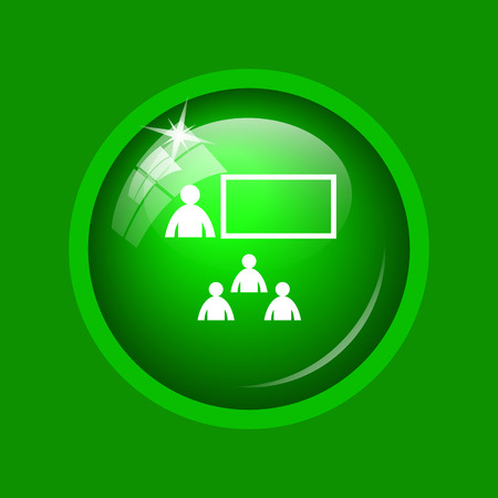 Presenting icon. Internet button on green background. Stock Photo
