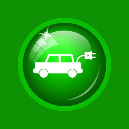 Electric car icon. Internet button on green background.