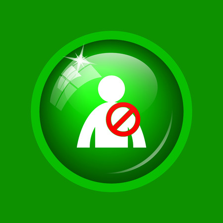 User offline icon. Internet button on green background.
