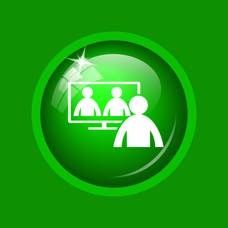 Video conference, online meeting icon. Internet button on green background.