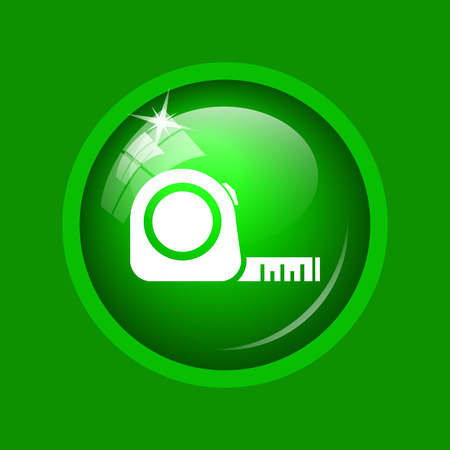 Tape measure icon. Internet button on green background.