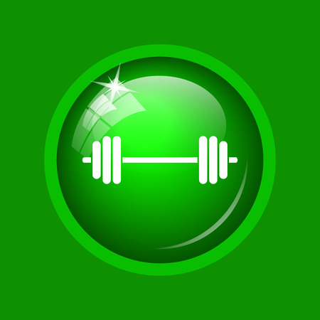 signo pesos: Weightlifting icon. Internet button on green background.