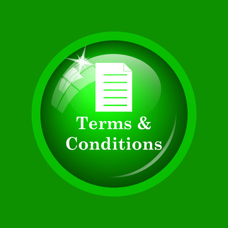 Terms and conditions icon. Internet button on green background.