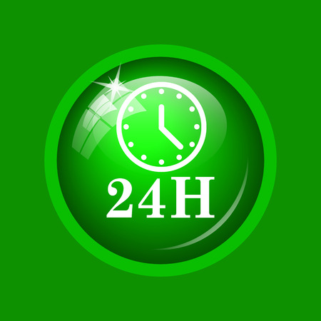 24H clock icon. Internet button on green background. Stock Photo