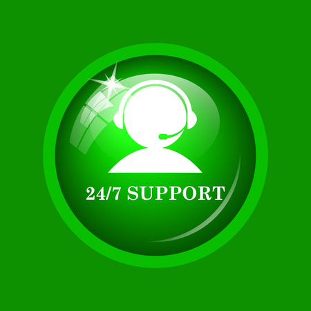 24-7 Support icon. Internet button on green background. Stock Photo