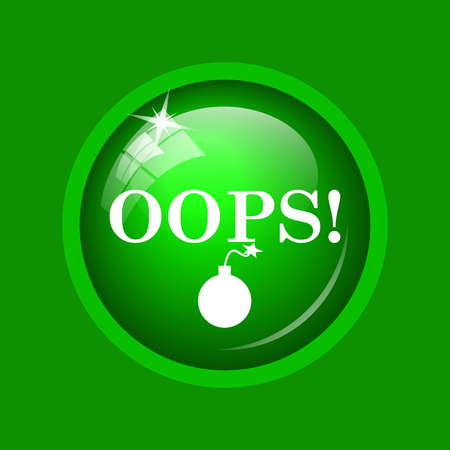 Oops icon. Internet button on green background. Stock Photo