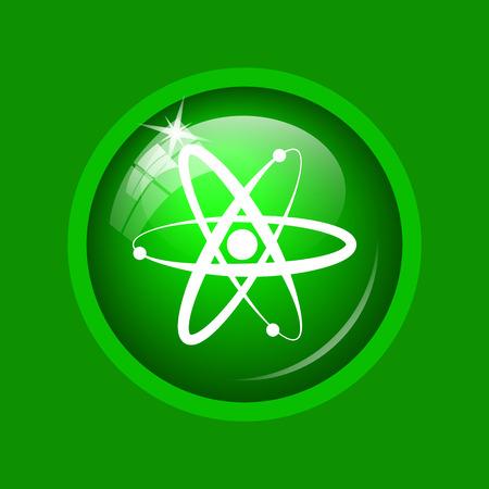 Atoms icon. Internet button on green background.