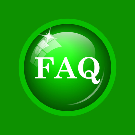 asked: FAQ icon. Internet button on green background.