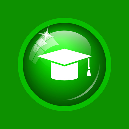 Graduation icon. Internet button on green background.