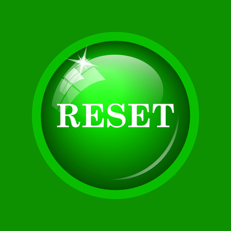 redesign: Reset icon. Internet button on green background. Stock Photo