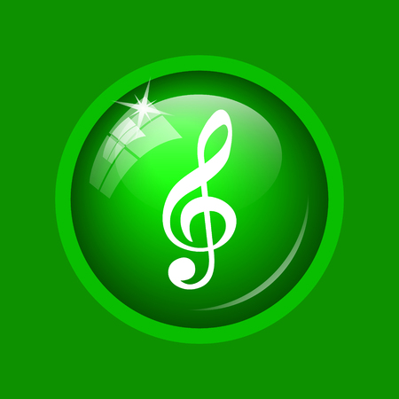 melodic: Musical note icon. Internet button on green background.