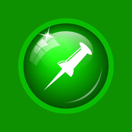 Pin icon. Internet button on green background.