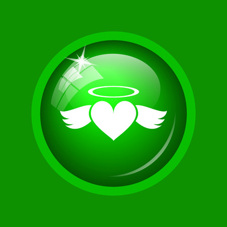Heart angel icon. Internet button on green background. Stock Photo