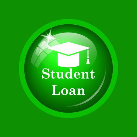 application university: Student loan icon. Internet button on green background. Stock Photo