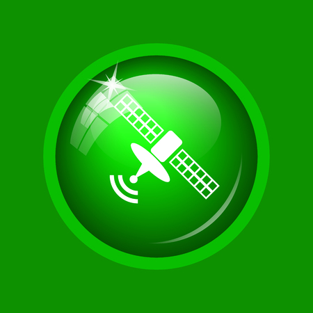 world receiver: Antenna icon. Internet button on green background. Stock Photo