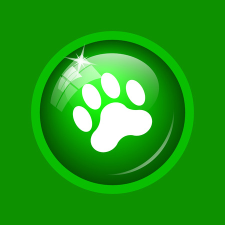 dog walking: Paw print icon. Internet button on green background.