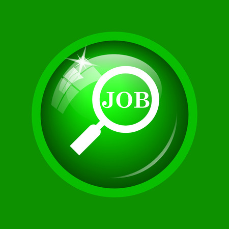 Search for job icon. Internet button on green background. Stock Photo