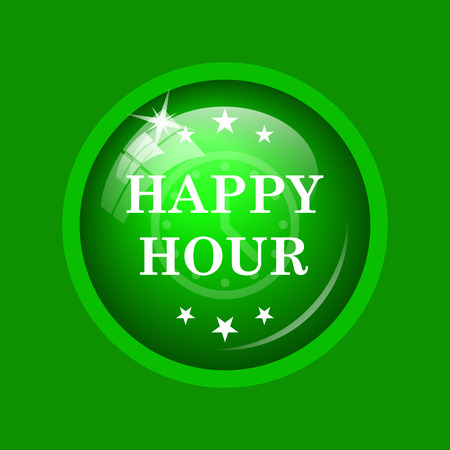 Happy hour icon. Internet button on green background.