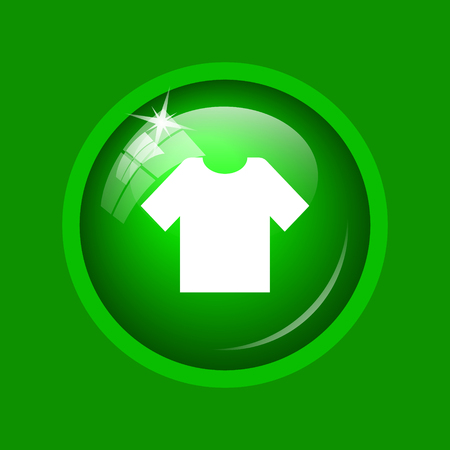 T-shirt icon. Internet button on green background.