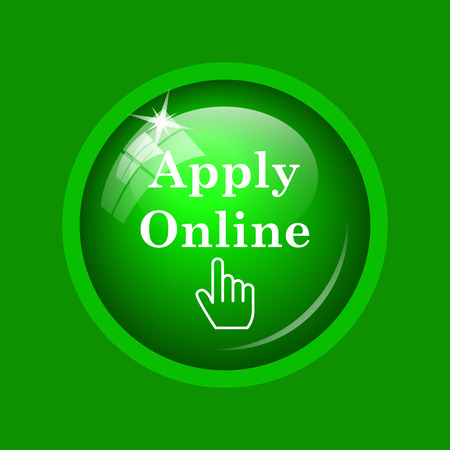 Apply online icon. Internet button on green background. Stock Photo