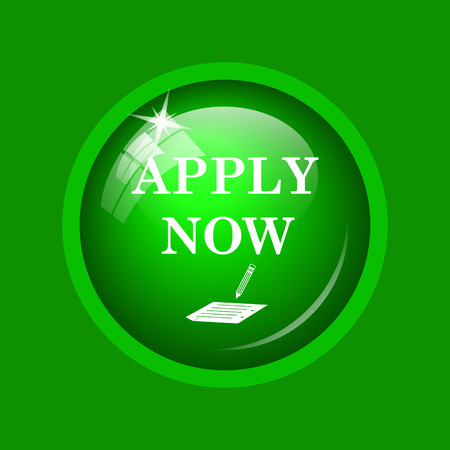 Apply now icon. Internet button on green background.