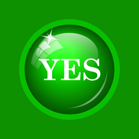 Yes icon. Internet button on green background. Stock Photo