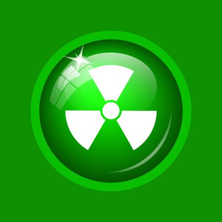 Radiation icon. Internet button on green background.